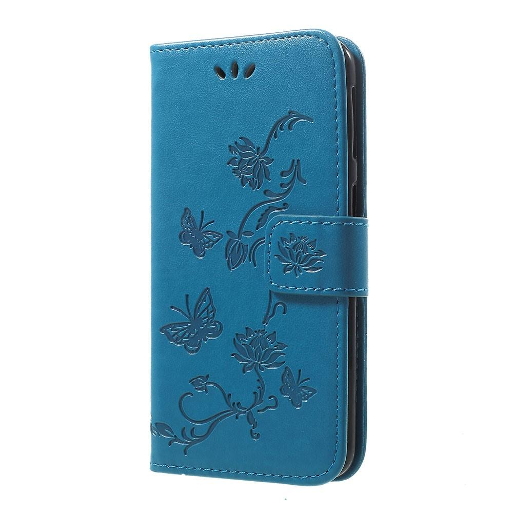Läderfodral Fjärilar Samsung Galaxy A40 blå