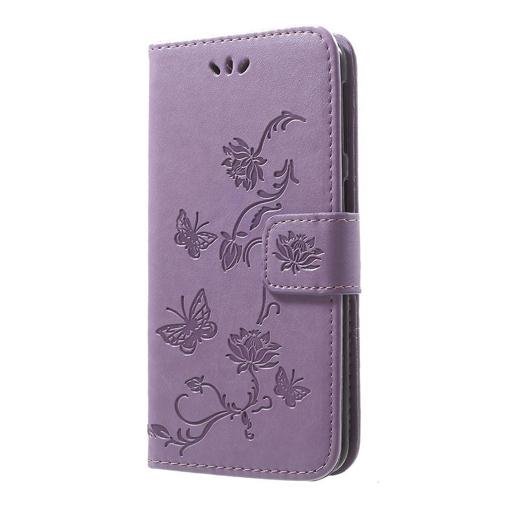 Läderfodral Fjärilar Samsung Galaxy A40 lila
