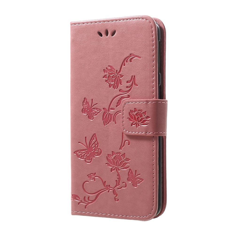 Läderfodral Fjärilar Samsung Galaxy A40 rosa