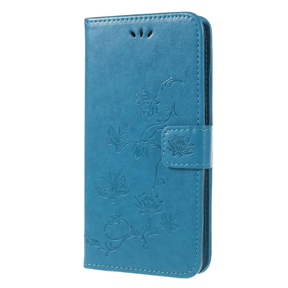 Läderfodral Fjärilar Samsung Galaxy A6 2018 blå