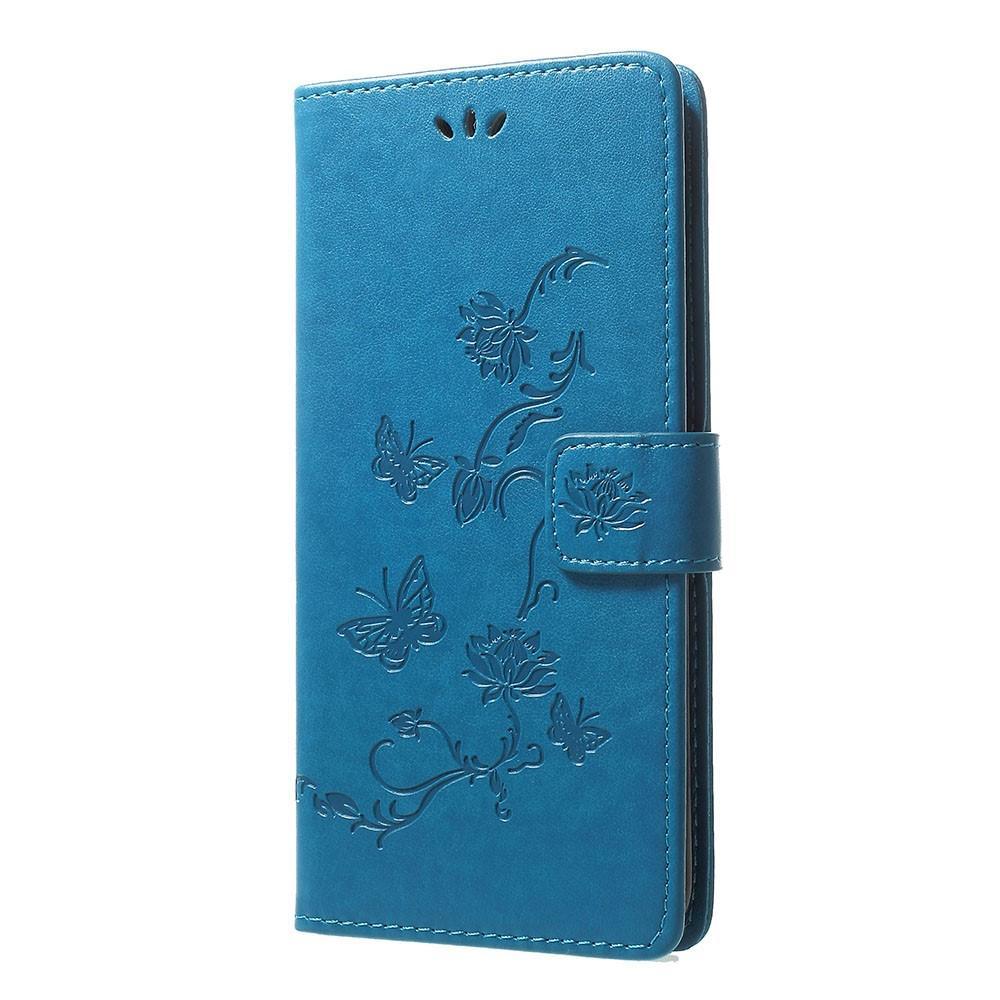 Läderfodral Fjärilar Samsung Galaxy A70 blå