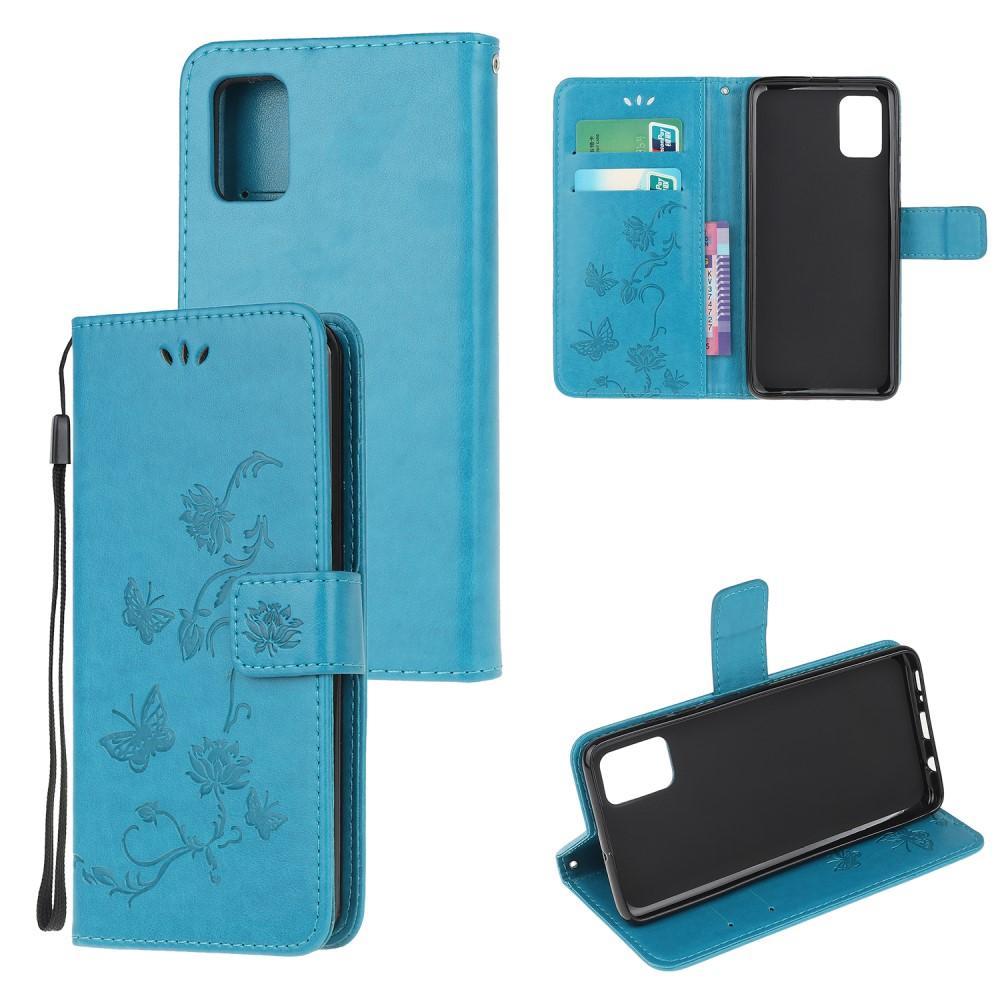 Läderfodral Fjärilar Samsung Galaxy A71 blå