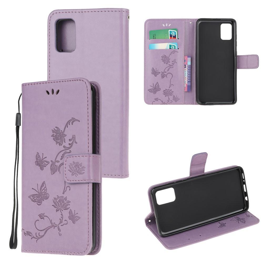 Läderfodral Fjärilar Samsung Galaxy A71 lila