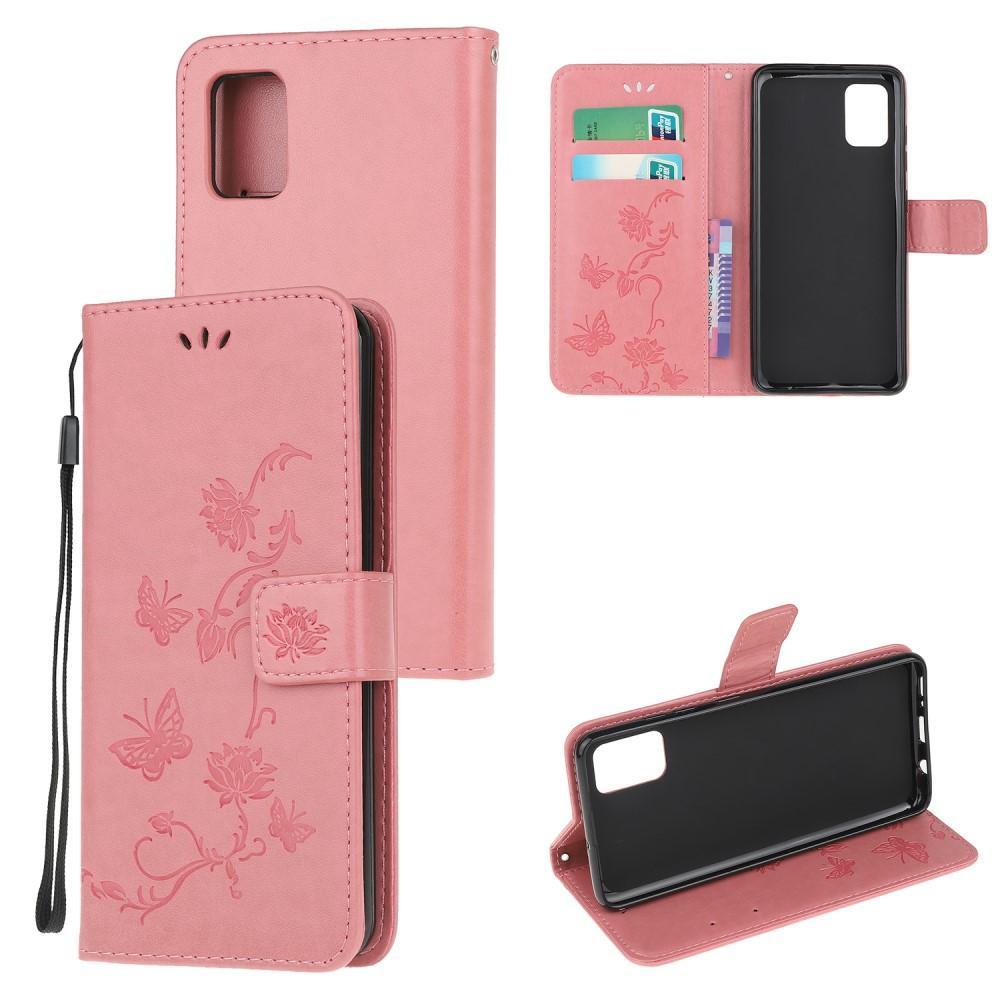 Läderfodral Fjärilar Samsung Galaxy A71 rosa
