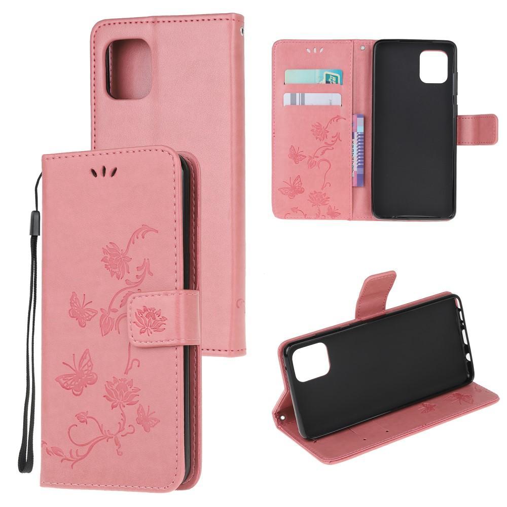 Läderfodral Fjärilar Samsung Galaxy Note 10 Lite rosa