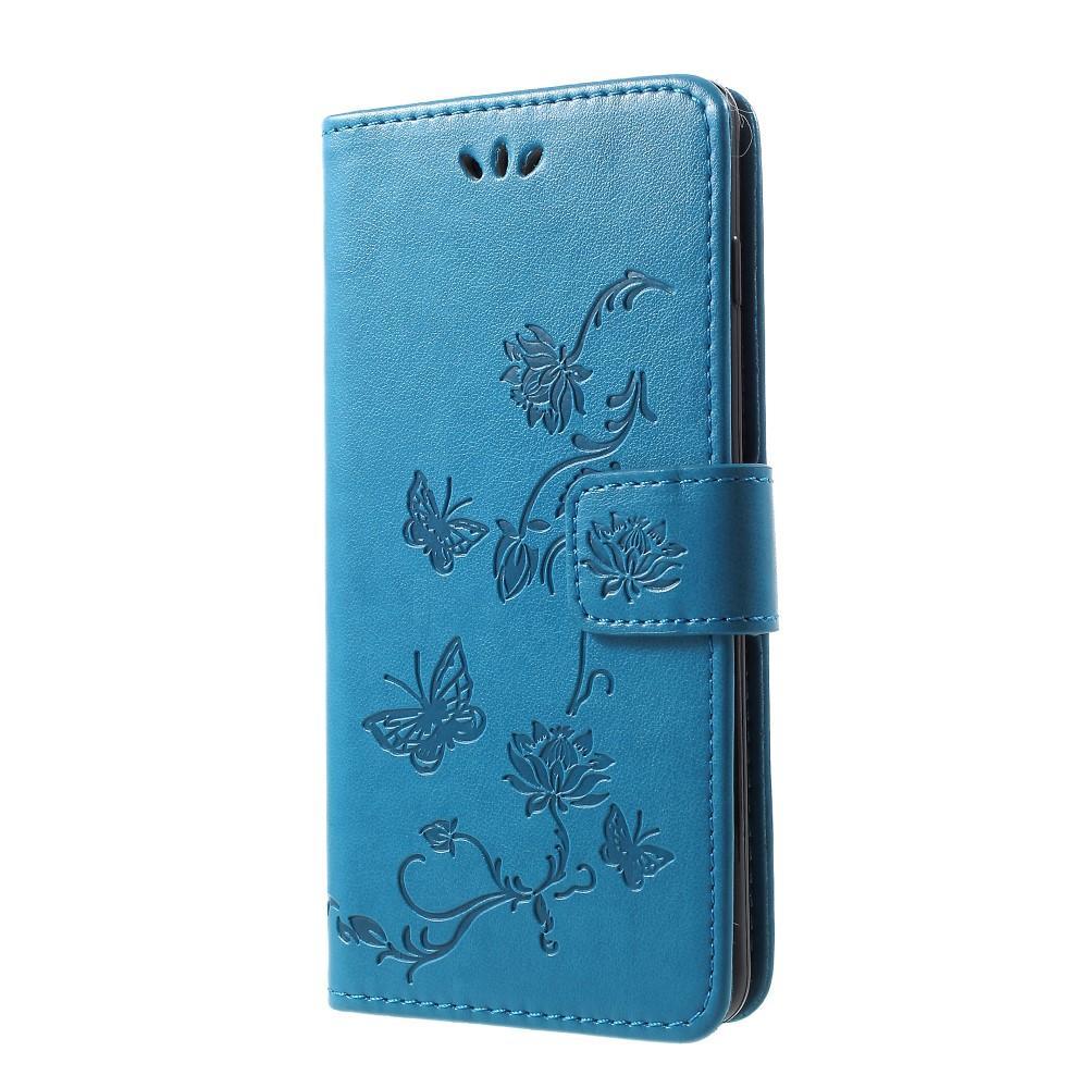 Läderfodral Fjärilar Samsung Galaxy S10 blå