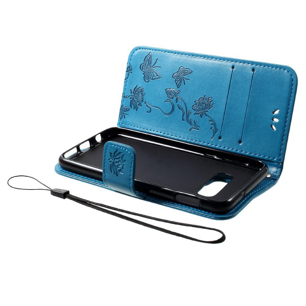 Läderfodral Fjärilar Samsung Galaxy S10e blå