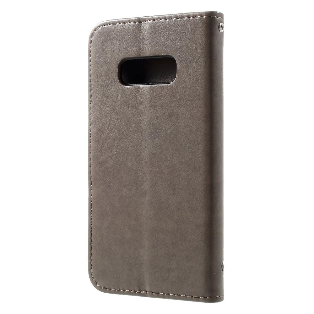 Läderfodral Fjärilar Samsung Galaxy S10e grå