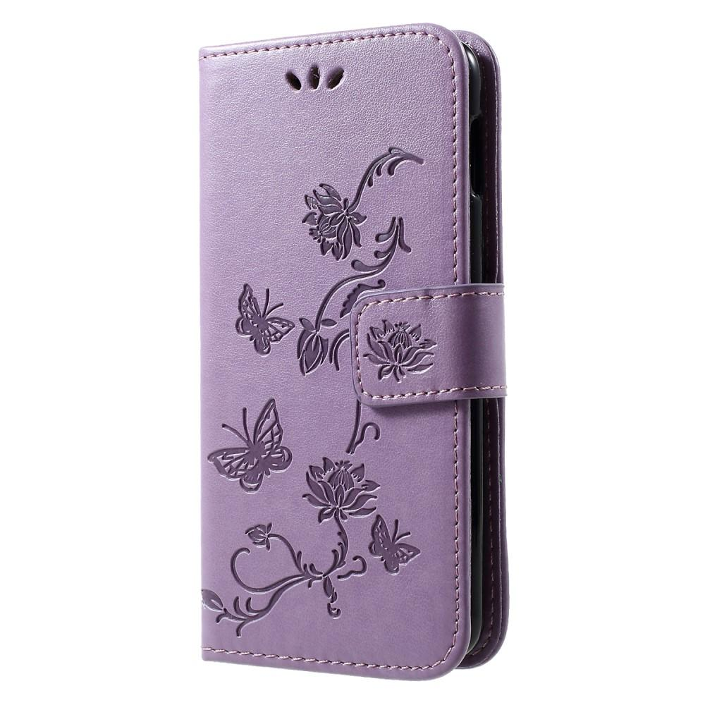 Läderfodral Fjärilar Samsung Galaxy S10e lila