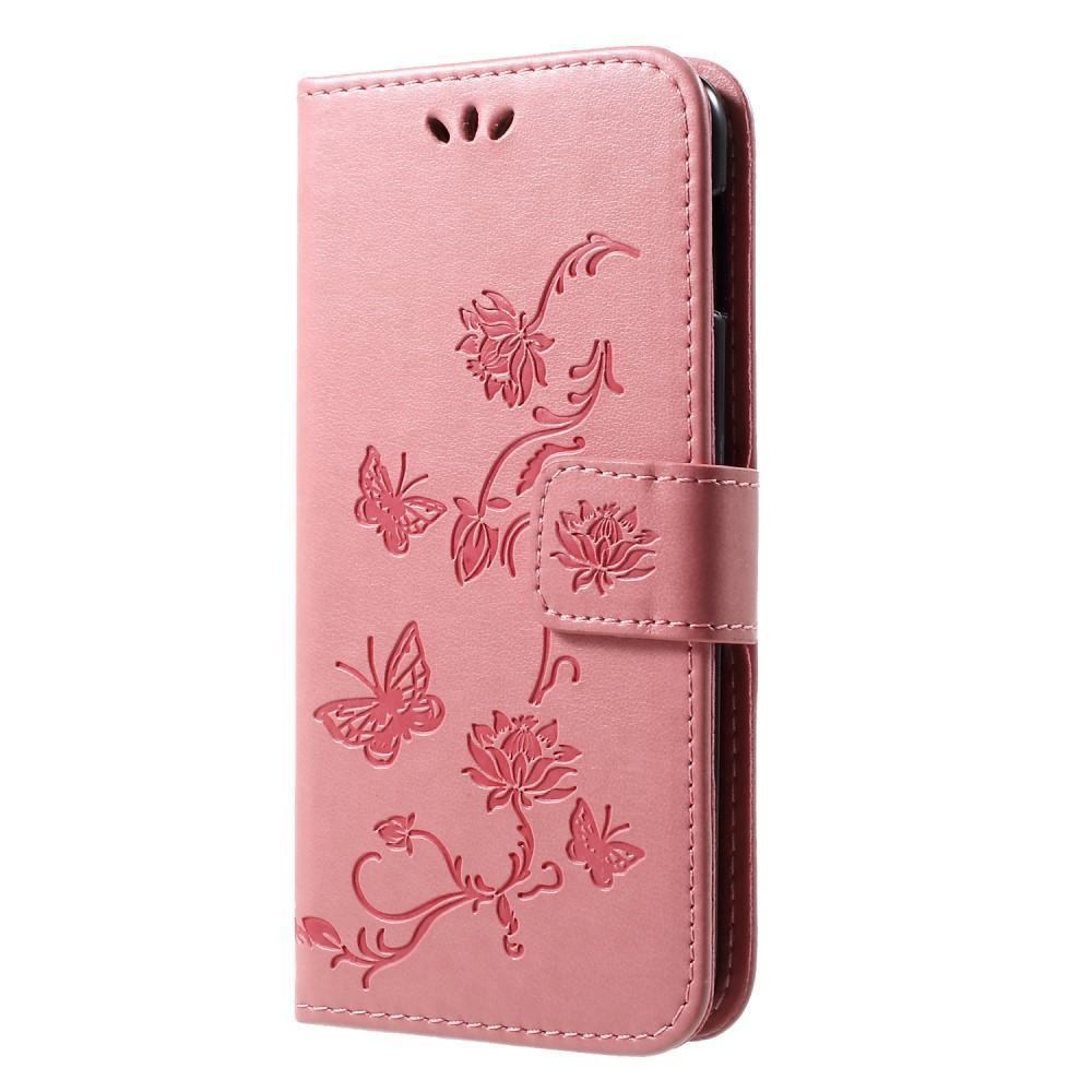 Läderfodral Fjärilar Samsung Galaxy S10e rosa