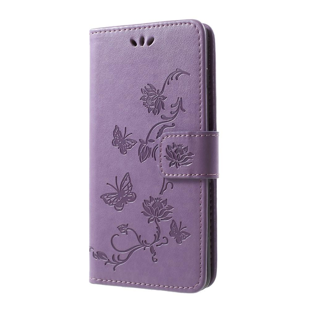 Läderfodral Fjärilar Samsung Galaxy S10 Plus lila