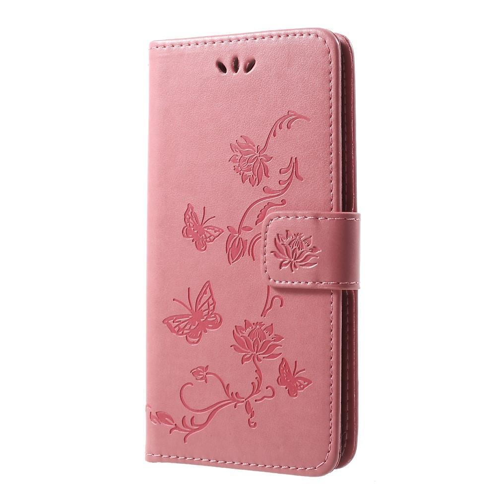 Läderfodral Fjärilar Samsung Galaxy S10 Plus rosa