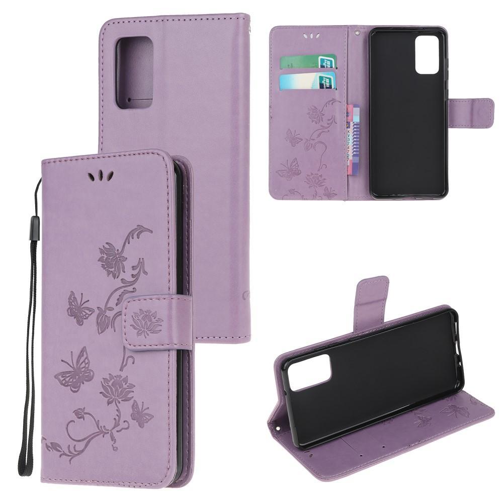 Läderfodral Fjärilar Samsung Galaxy S20 Plus lila