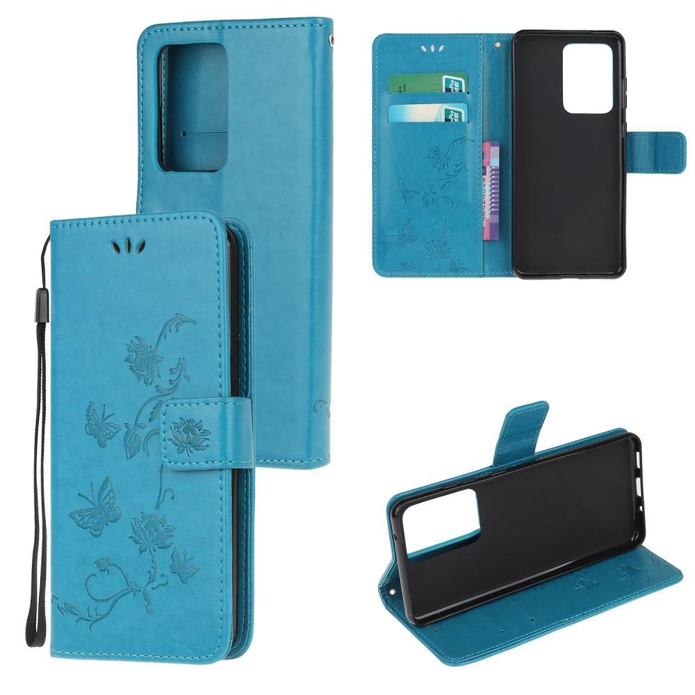 Läderfodral Fjärilar Samsung Galaxy S20 Ultra blå