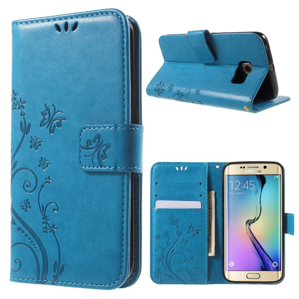 Läderfodral Fjärilar Samsung Galaxy S6 Edge blå