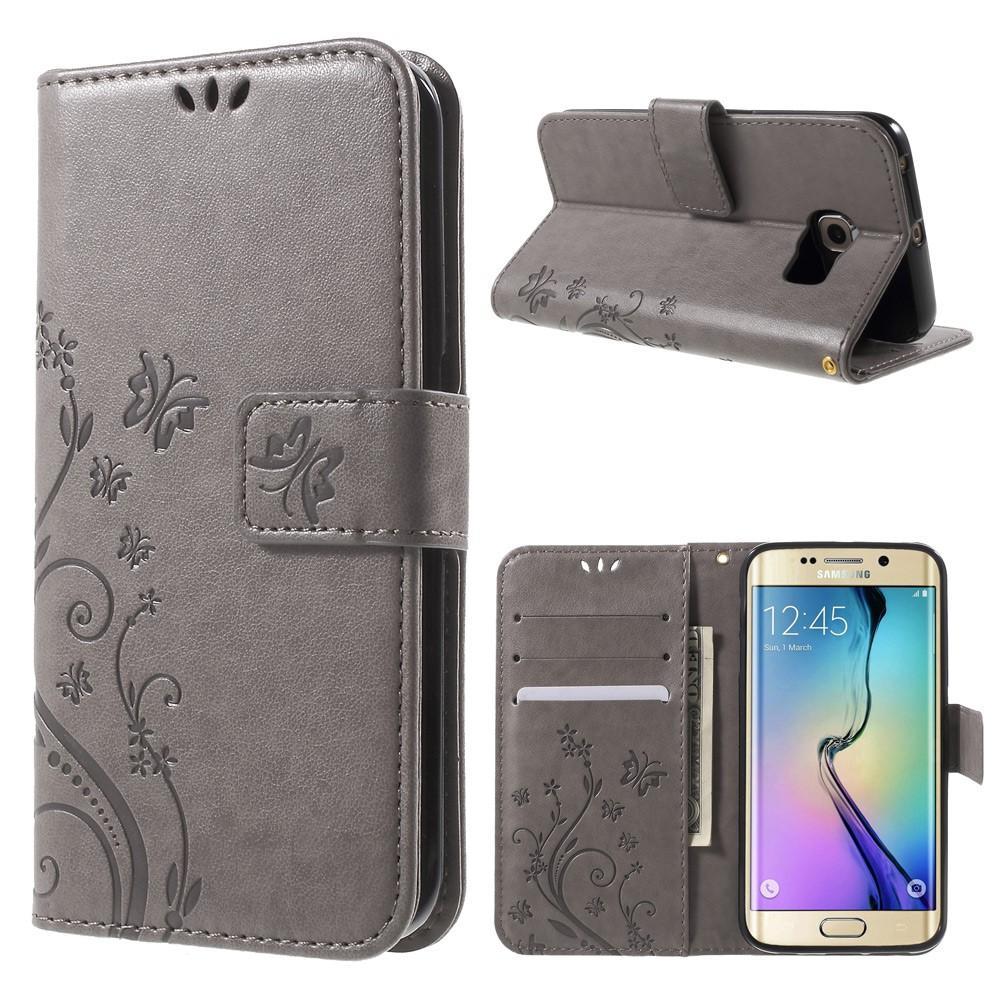 Läderfodral Fjärilar Samsung Galaxy S6 Edge grå