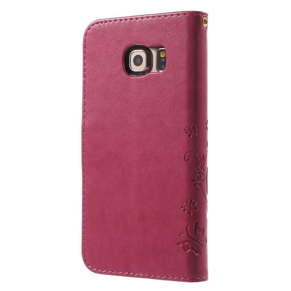 Läderfodral Fjärilar Samsung Galaxy S6 Edge rosa