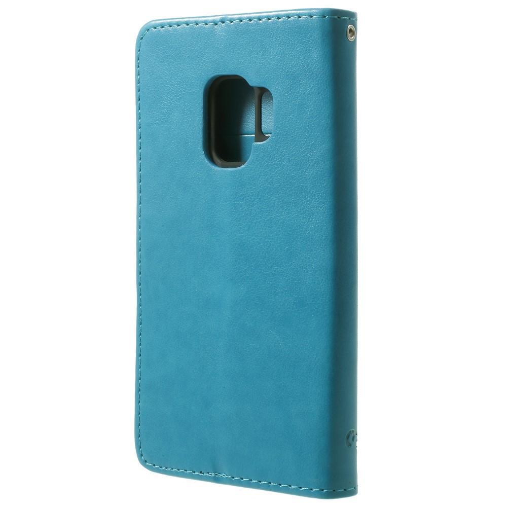 Läderfodral Fjärilar Samsung Galaxy S9 blå