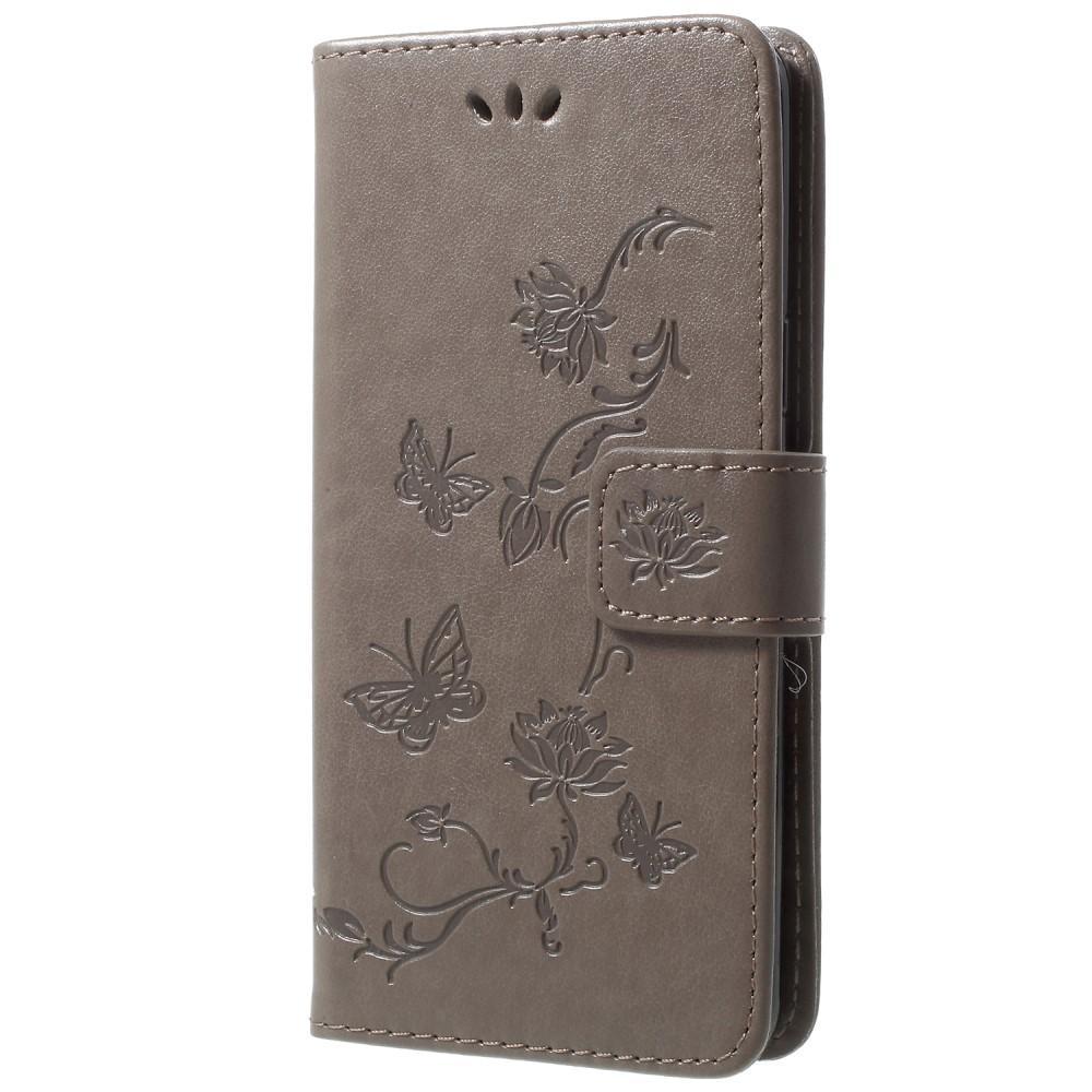 Läderfodral Fjärilar Samsung Galaxy S9 grå