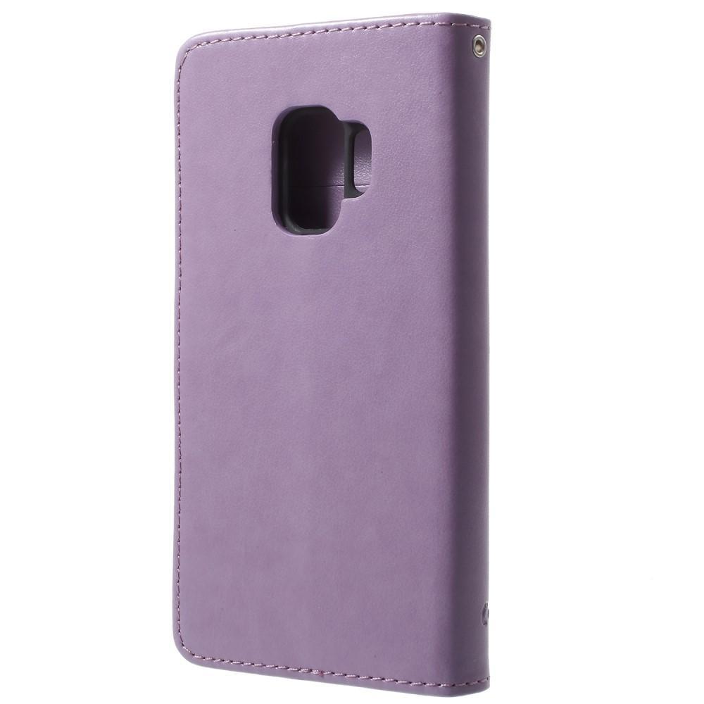 Läderfodral Fjärilar Samsung Galaxy S9 lila