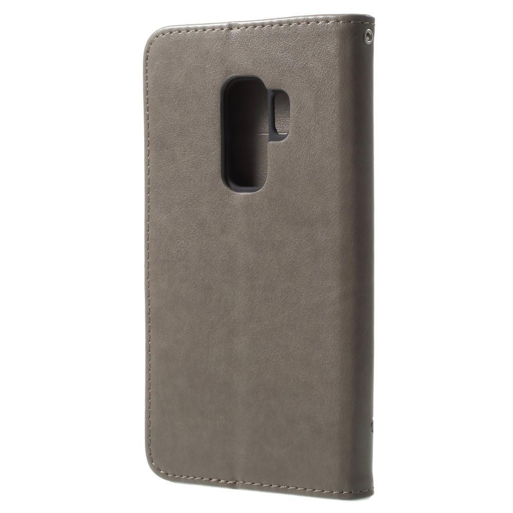 Läderfodral Fjärilar Samsung Galaxy S9 Plus grå