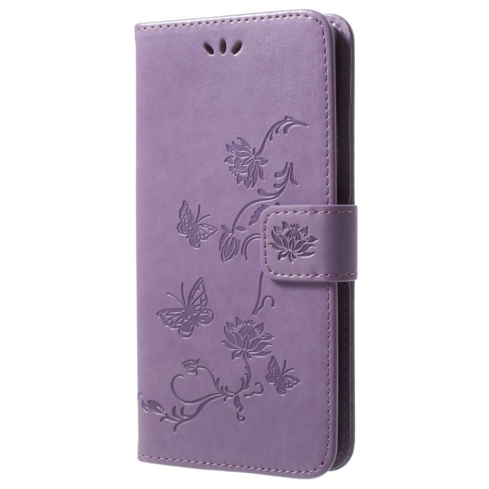 Läderfodral Fjärilar Samsung Galaxy S9 Plus lila