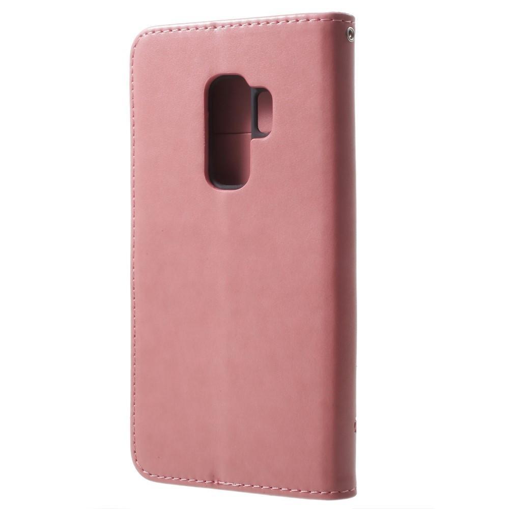 Läderfodral Fjärilar Samsung Galaxy S9 Plus rosa