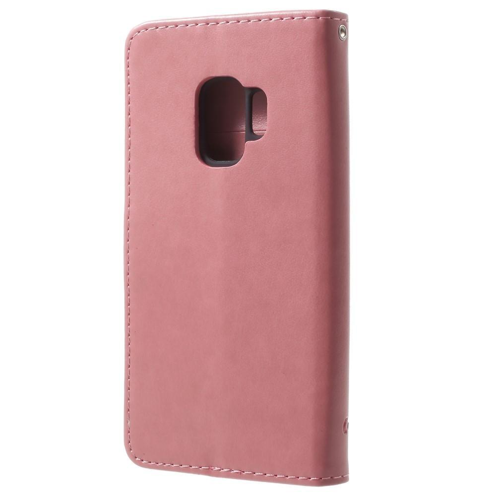 Läderfodral Fjärilar Samsung Galaxy S9 rosa