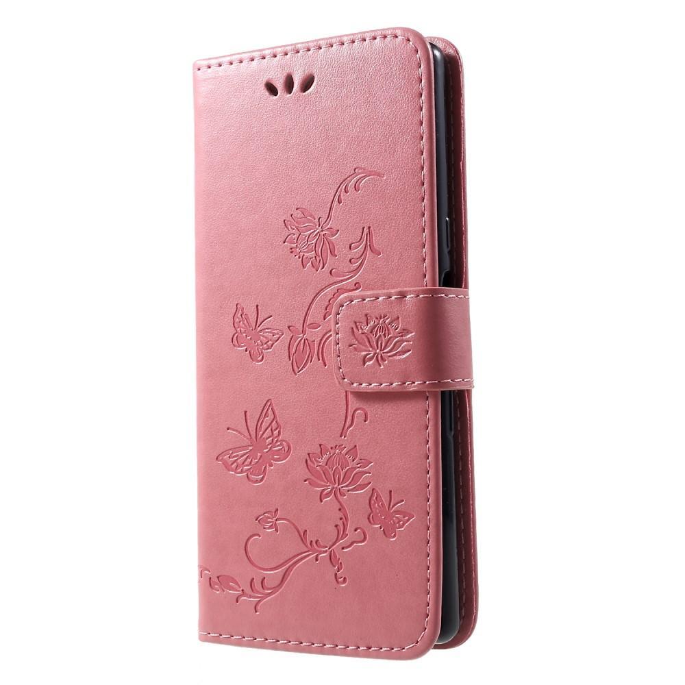 Läderfodral Fjärilar Sony Xperia 10 rosa