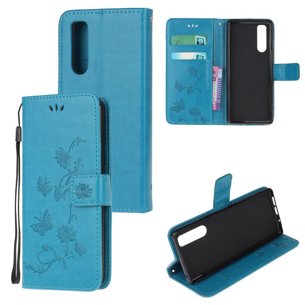 Läderfodral Fjärilar Sony Xperia 5 blå