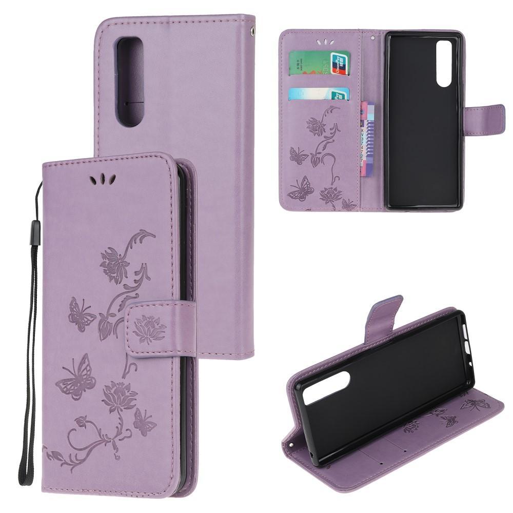 Läderfodral Fjärilar Sony Xperia 5 lila
