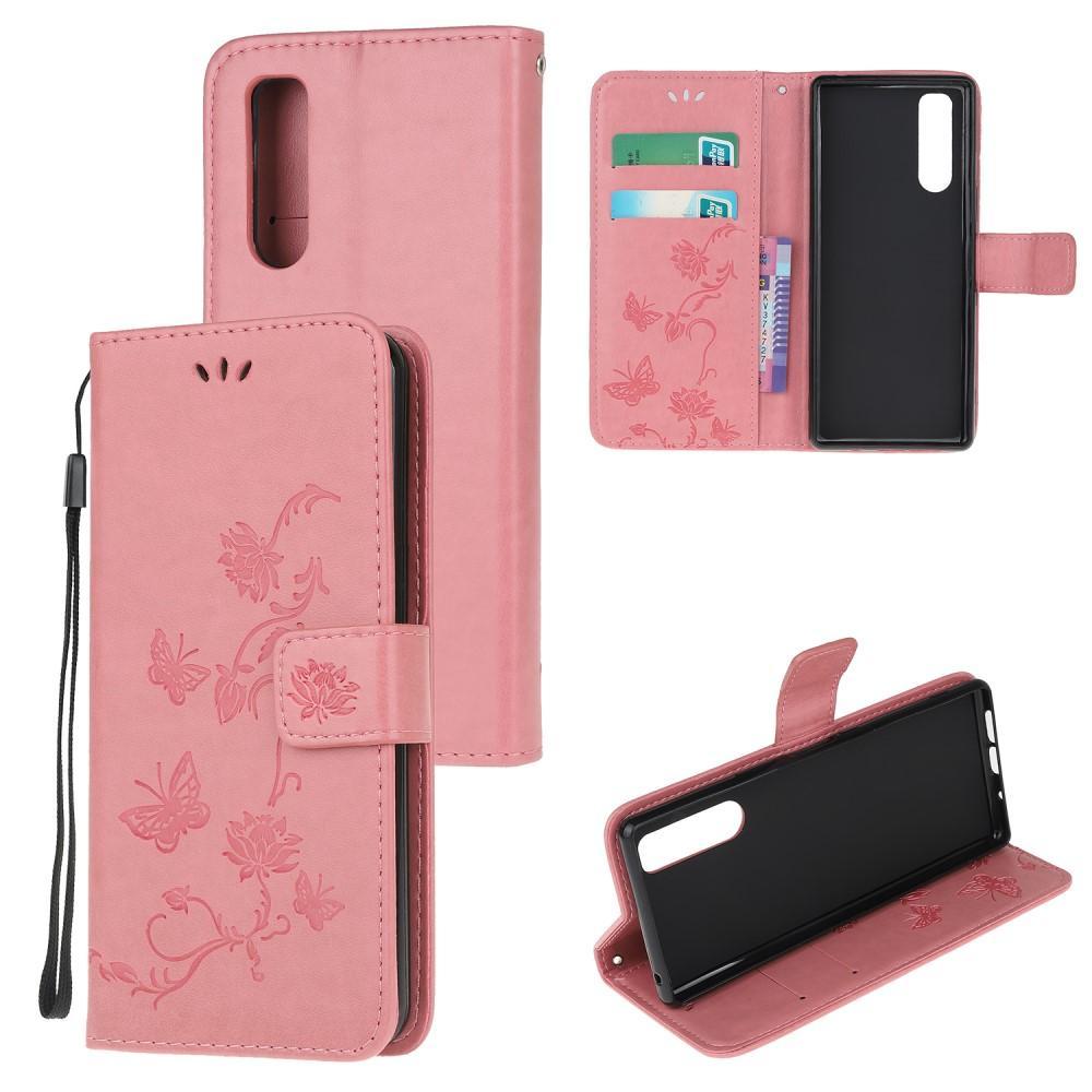 Läderfodral Fjärilar Sony Xperia 5 rosa