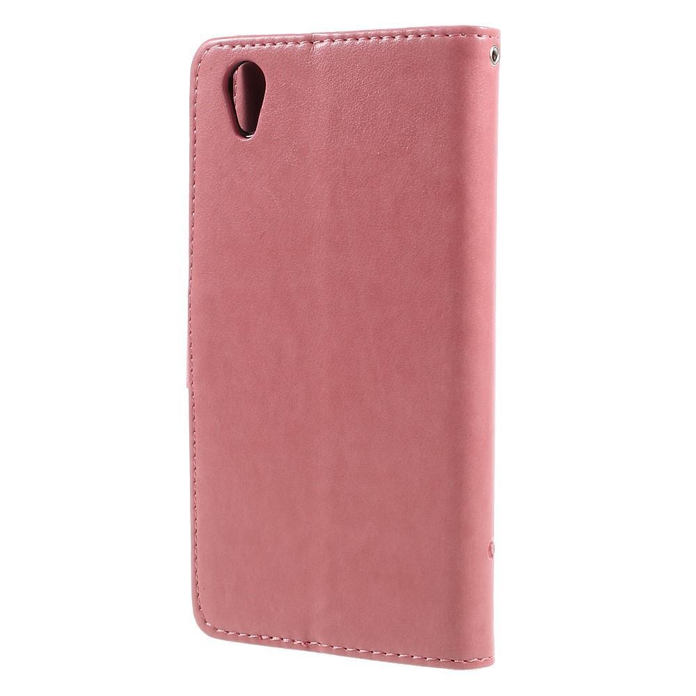 Läderfodral Fjärilar Sony Xperia L1 rosa