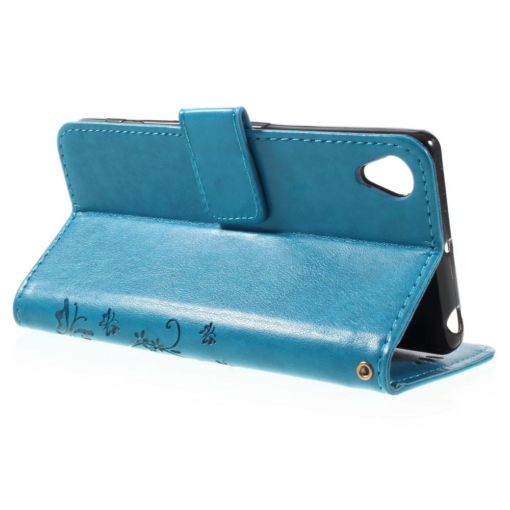 Läderfodral Fjärilar Sony Xperia X blå