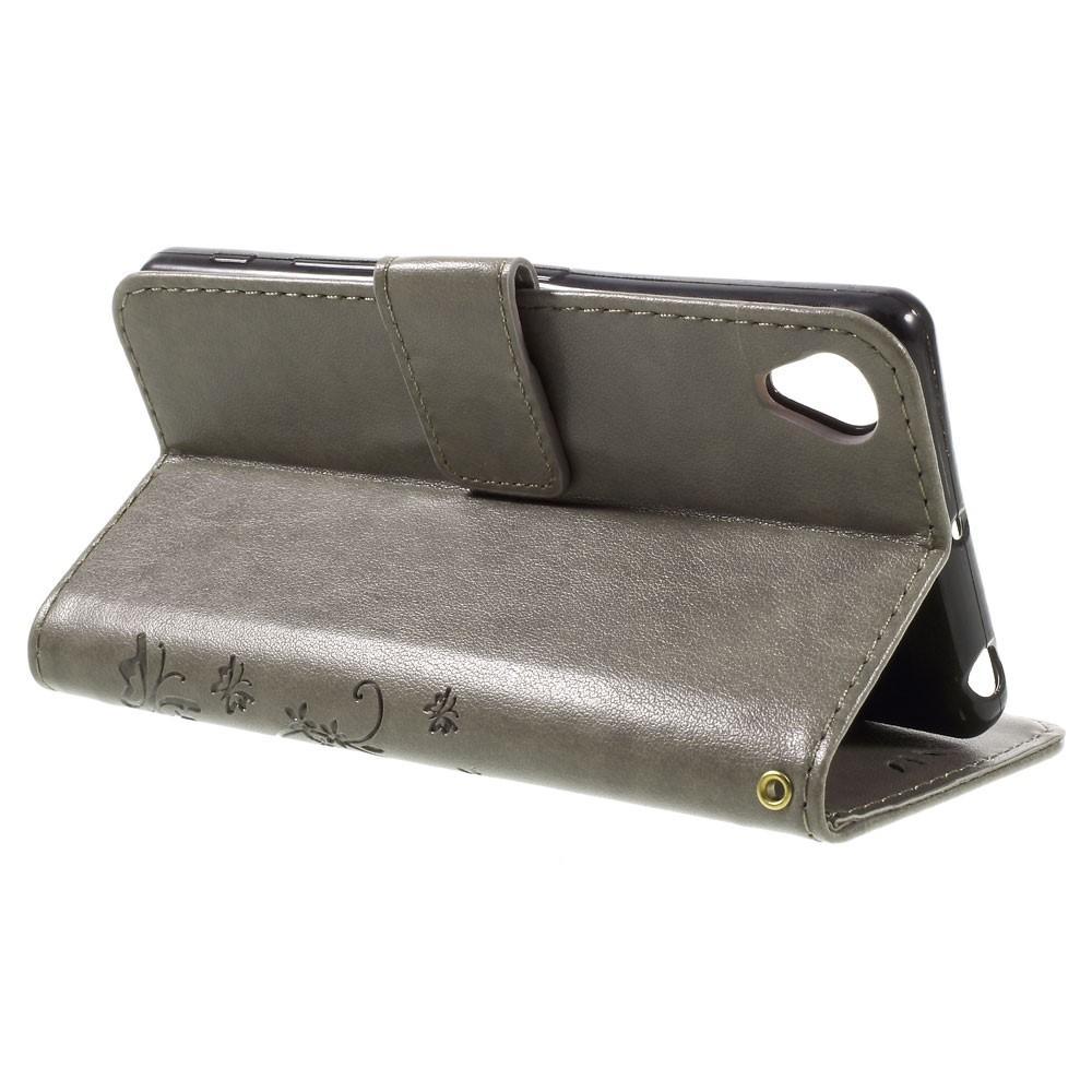 Läderfodral Fjärilar Sony Xperia X grå