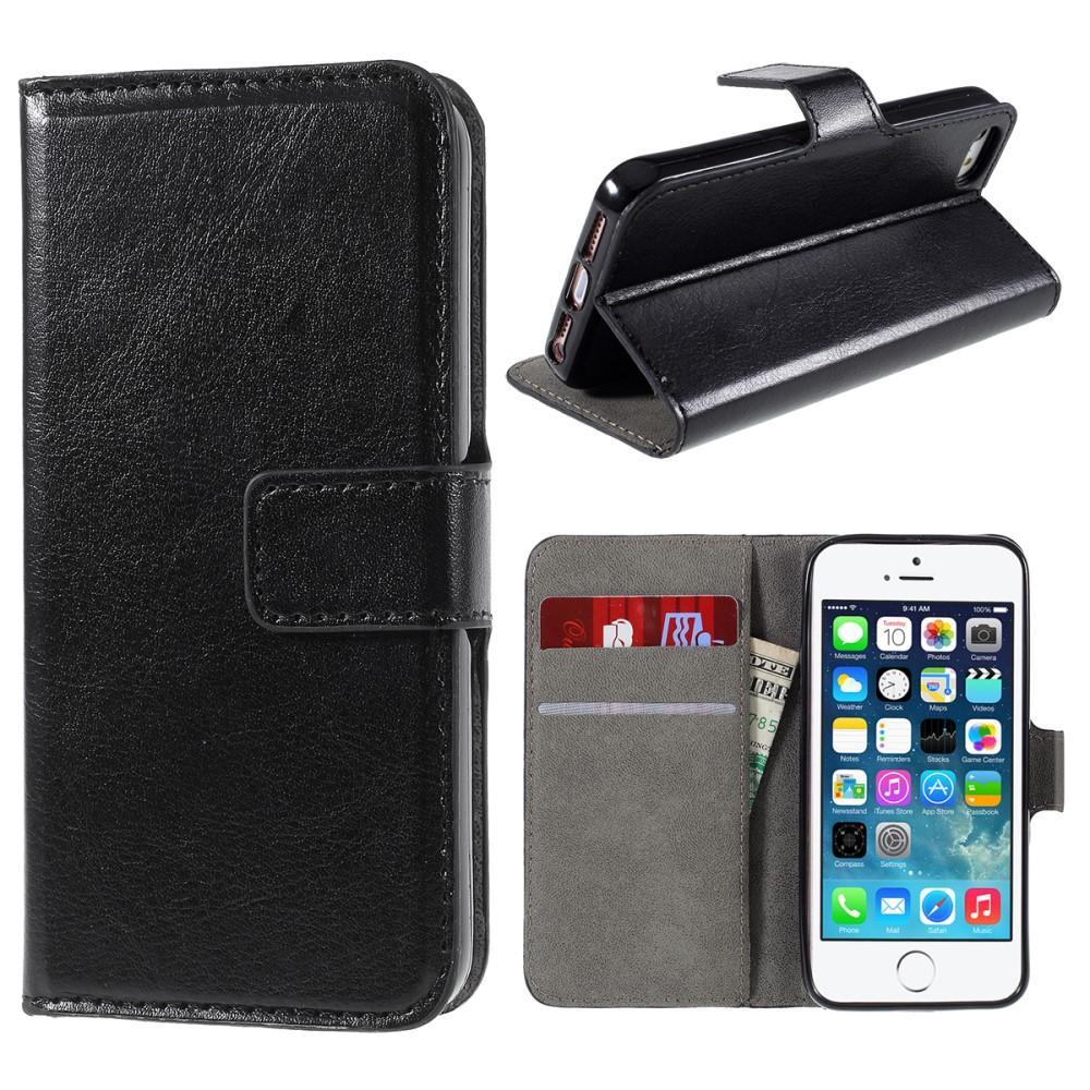Läderplånbok Apple iPhone 5/5S/SE svart