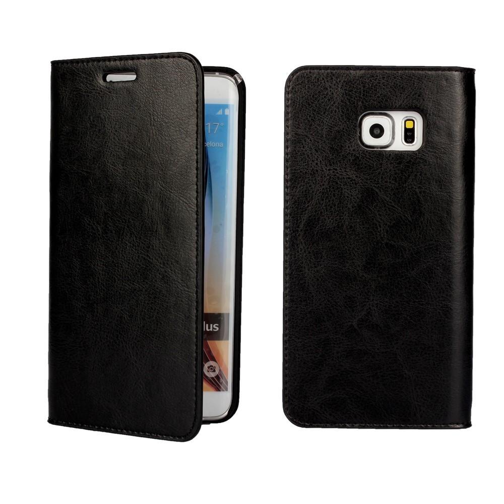 Mobilfodral Äkta Läder Samsung Galaxy S6 Edge Plus svart