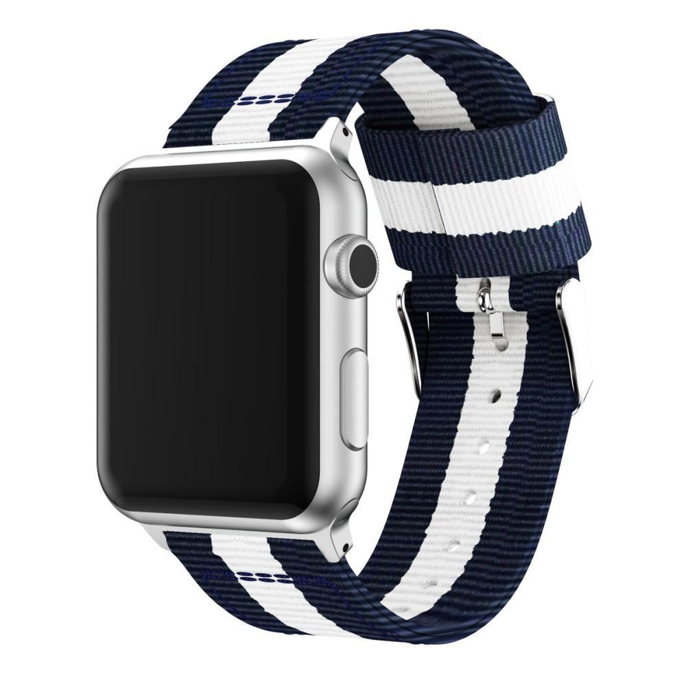 Nylonarmband Apple Watch 42/44mm blå/vit