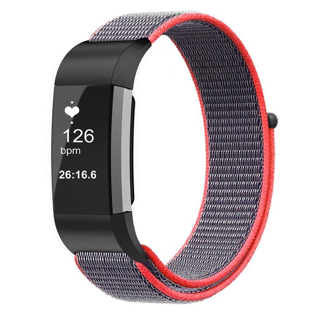 Nylonarmband Fitbit Charge 3/4 grå/rosa