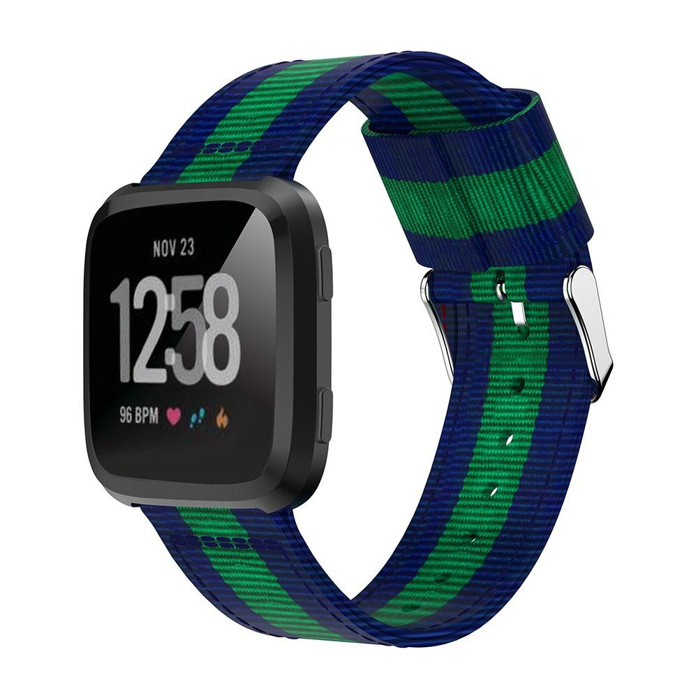 Nylonarmband Fitbit Versa/Versa 2 blå/grön