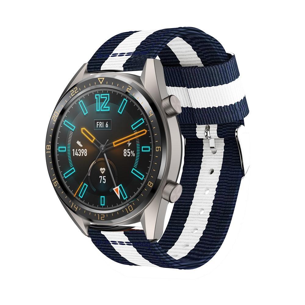 Nylonarmband Huawei Watch GT/GT 2 46mm/GT 2 Pro blå/vit