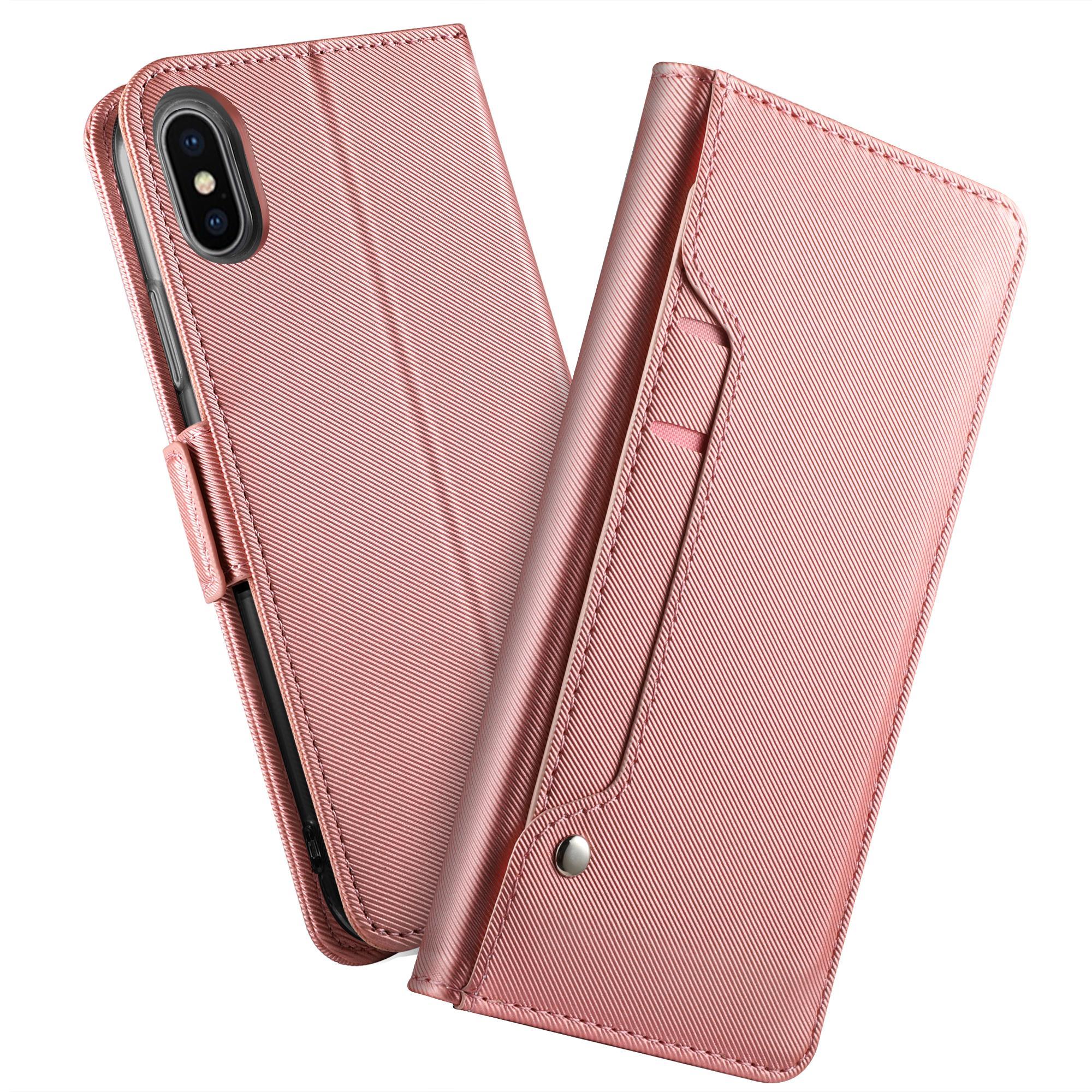 Plånboksfodral Spegel Apple iPhone XS Max Rosa Guld