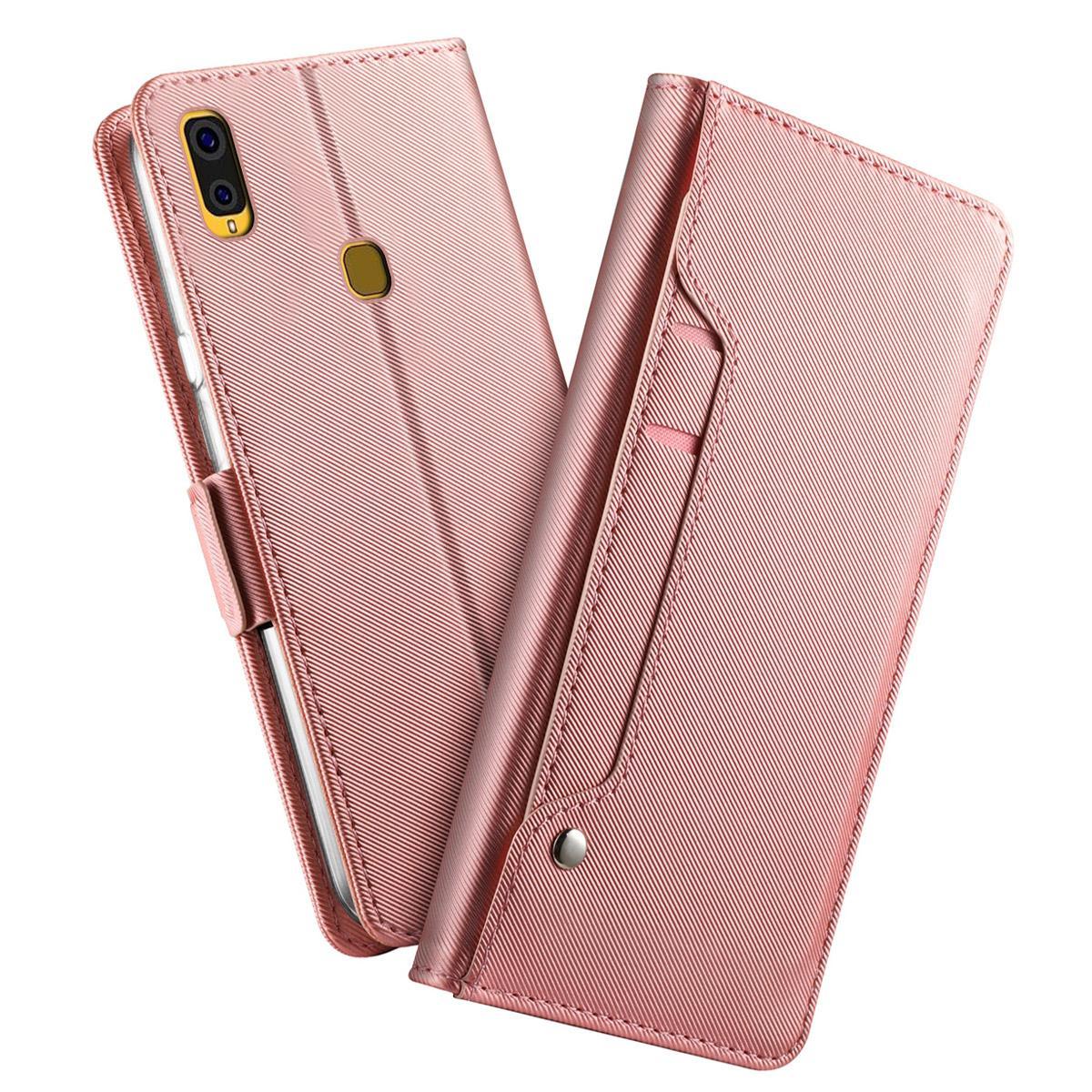 Plånboksfodral Spegel Galaxy A40 Rosa Guld