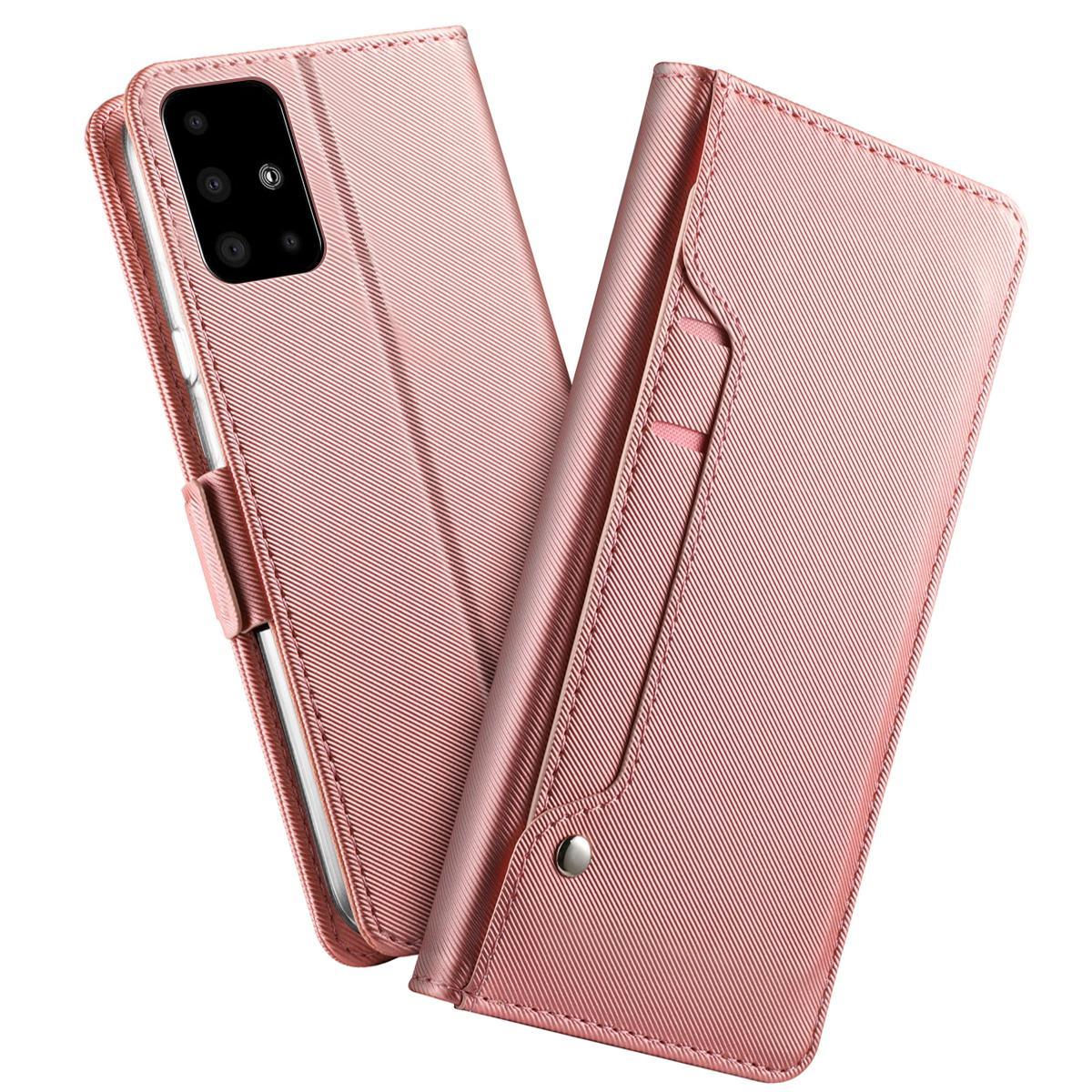 Plånboksfodral Spegel Galaxy A51 Rosa Guld