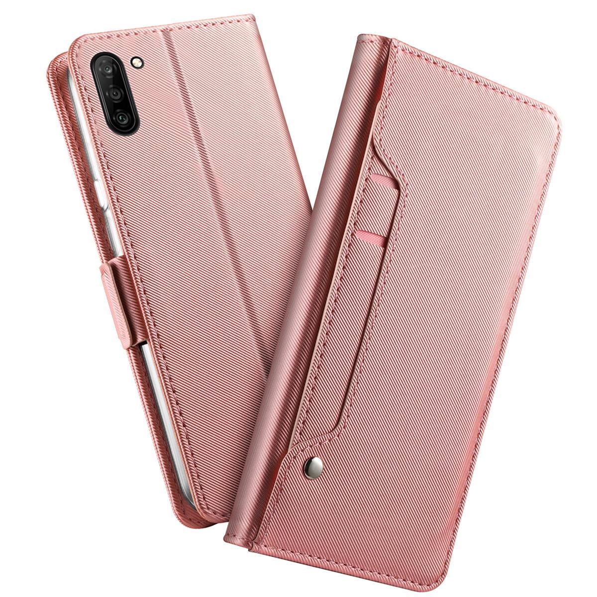 Plånboksfodral Spegel Galaxy Note 10 Rosa Guld