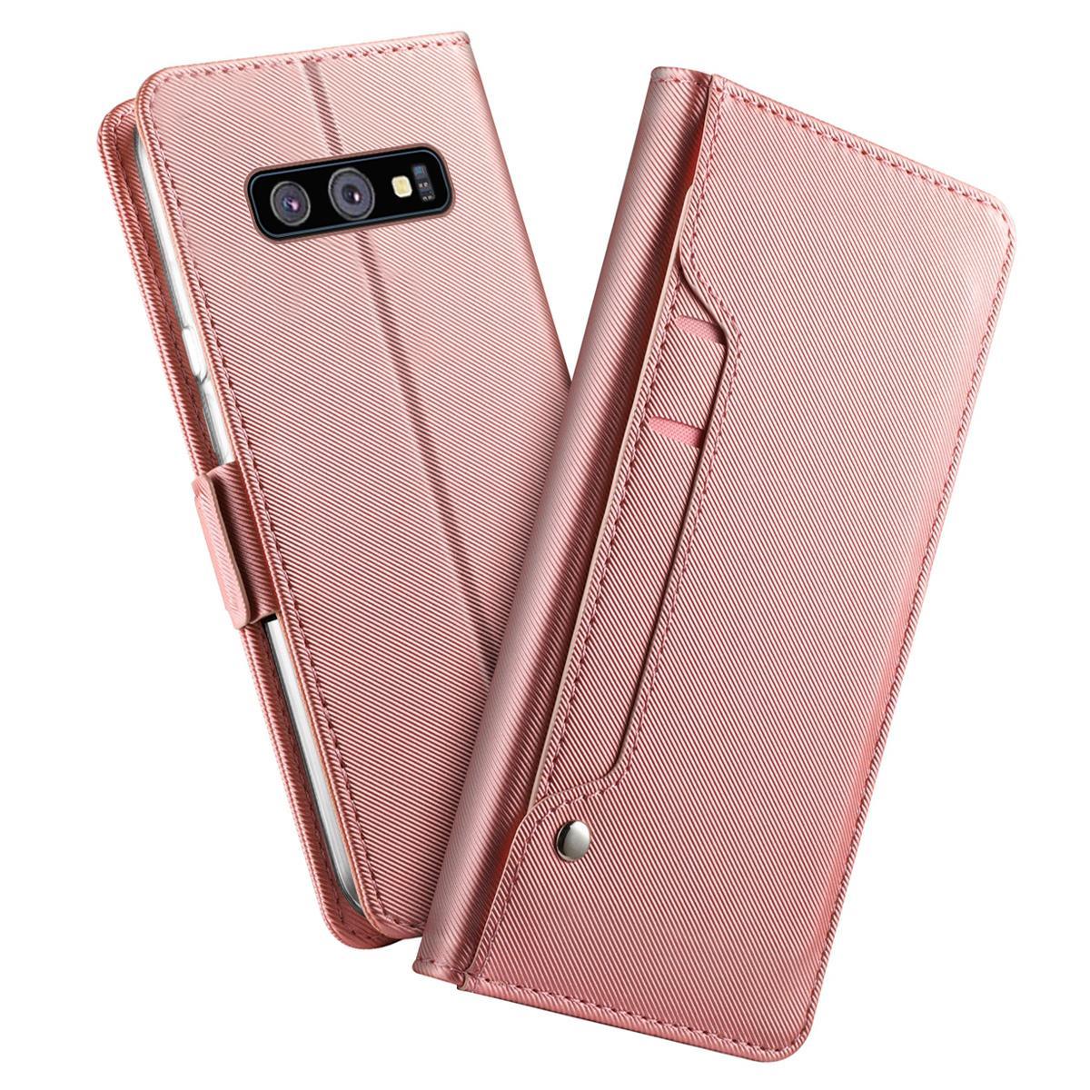 Plånboksfodral Spegel Galaxy S10 Rosa Guld