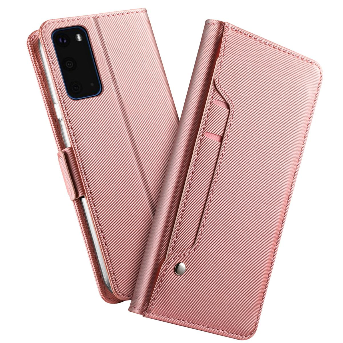 Plånboksfodral Spegel Galaxy S20 Rosa Guld