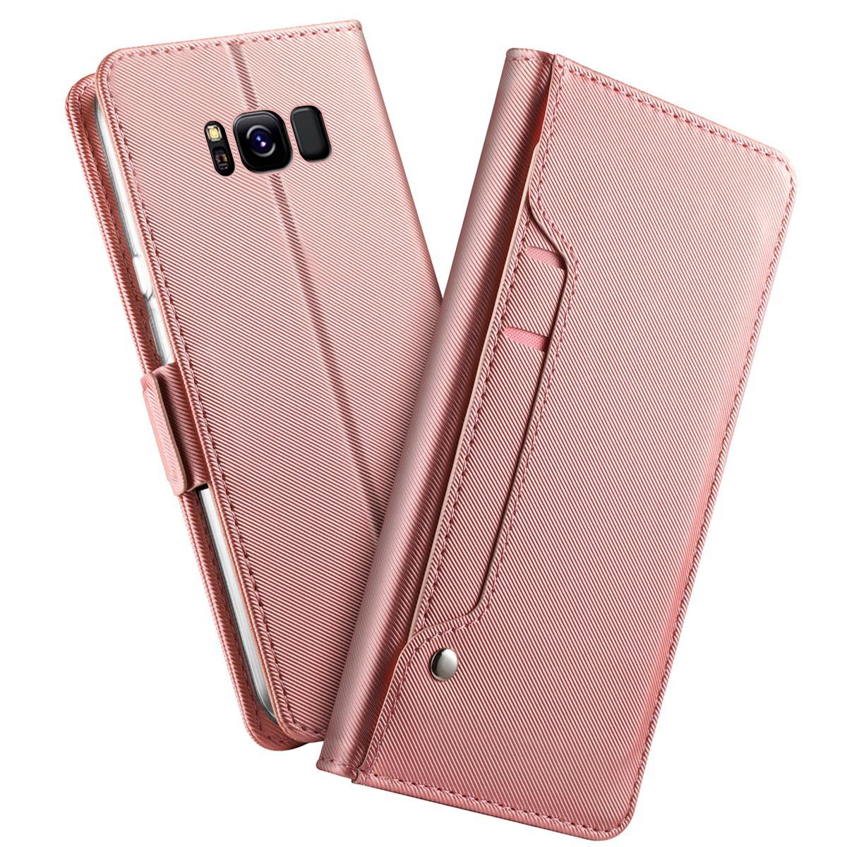 Plånboksfodral Spegel Galaxy S8 Rosa Guld