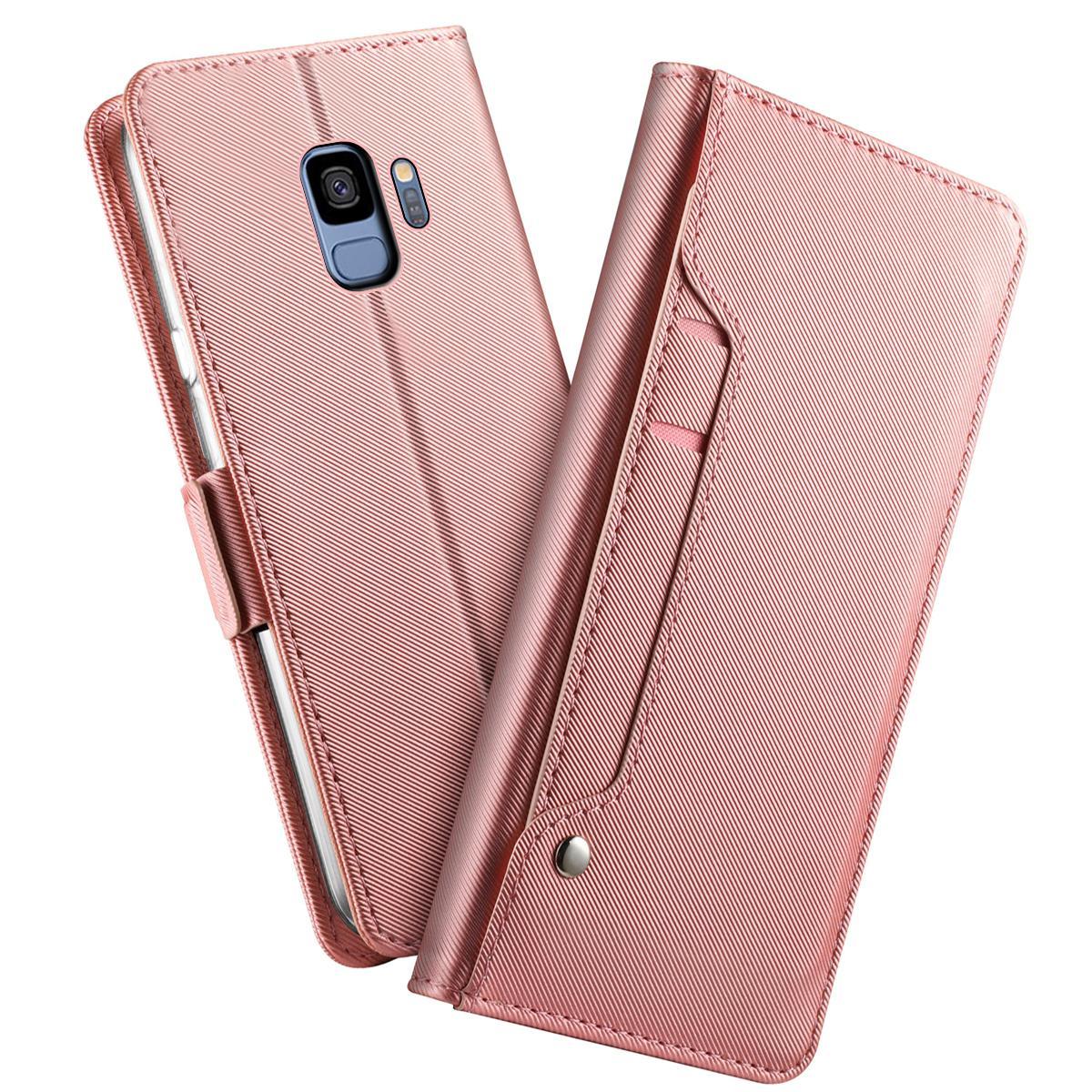 Plånboksfodral Spegel Galaxy S9 Rosa Guld
