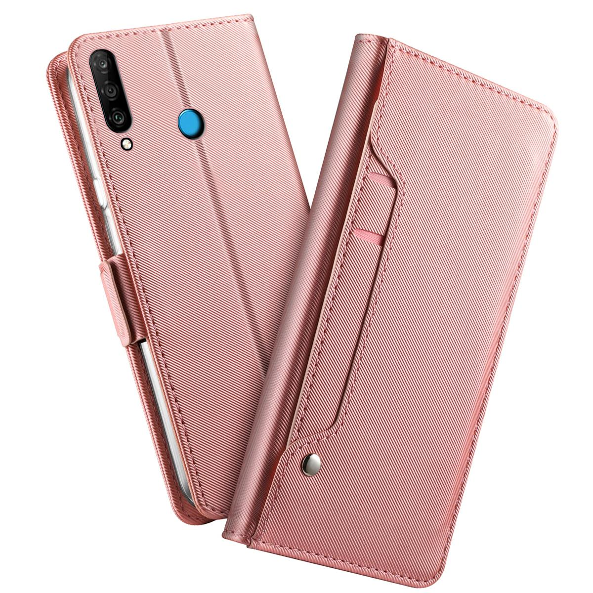 Plånboksfodral Spegel Huawei P30 Lite Rosa Guld